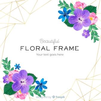 Aquarelle cadre doré avec des fleurs