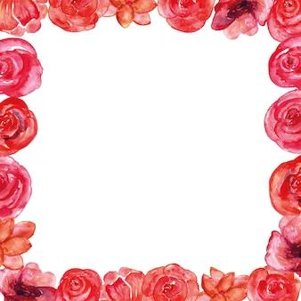 Aquarelle de cadre fleur rose