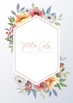 Aquarelle Cadre Avec Des Fleurs Multicolores Vecteur Premium