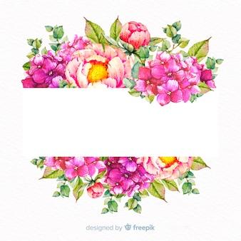 Aquarelle cadre floral avec bannière vierge
