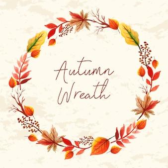 Aquarelle cadre floral, feuilles automne couronne
