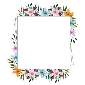 Aquarelle cadre floral fleurs feuillage