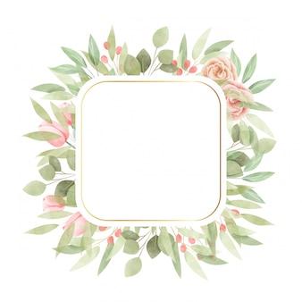 Aquarelle cadre floral. fond polyvalent.