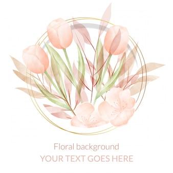 Aquarelle cadre floral. fond polyvalent