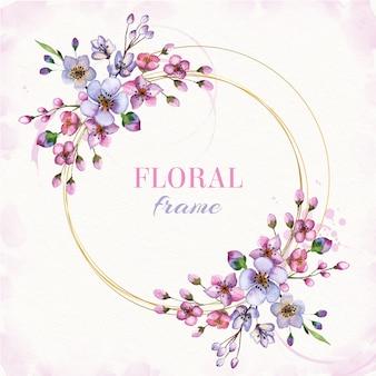 Aquarelle cadre floral avec main dessiner des fleurs