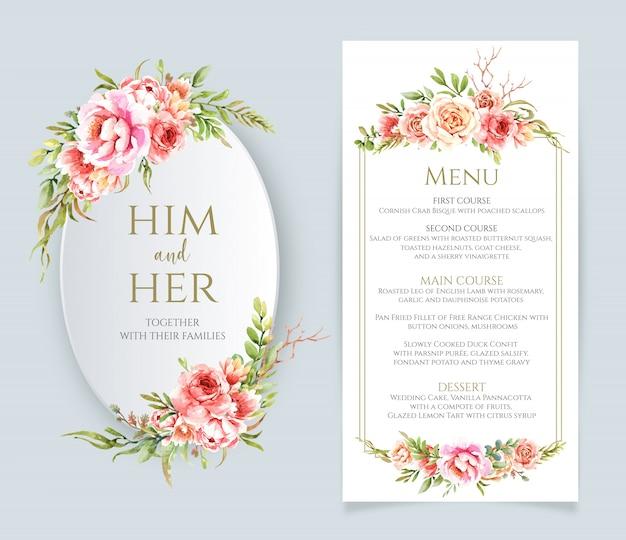 Aquarelle cadre floral et menu pour mariage