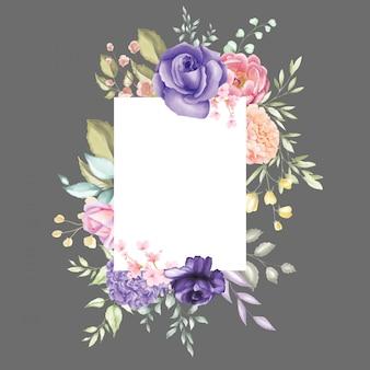 Aquarelle cadre floral multi usage fond