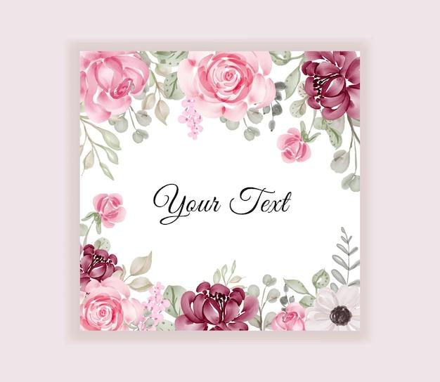 Aquarelle de cadre floral pour carte de mariage