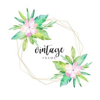 Aquarelle cadre floral tropical