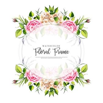 Aquarelle cadre floral