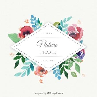 Aquarelle cadre de losange floral