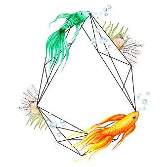 Aquarelle cadre poisson & sous-marin