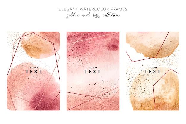 Aquarelle cadres avec des éclaboussures d'or et rosé