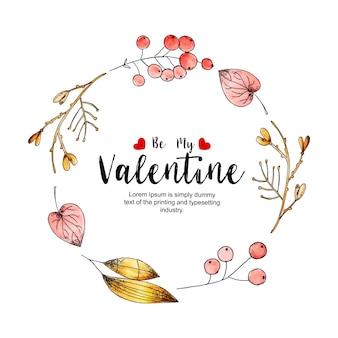 Aquarelle cadres saint valentin