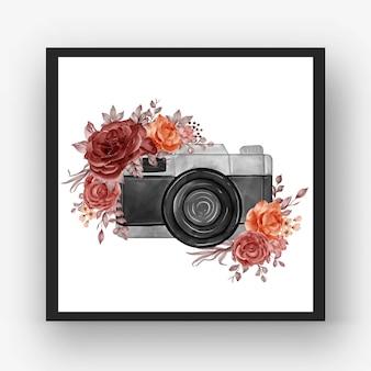 Aquarelle de caméra avec automne automne rose