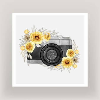 Aquarelle de caméra avec couronne de fleurs jaune or