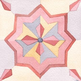 Aquarelle carreaux peints à la main dans un style marocain. tuiles vintage.