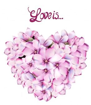 Aquarelle de carte d'amour de fleurs de lilly