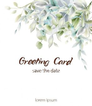 Aquarelle de carte boho feuilles vertes. rendez-vous d'été et salutations botaniques verticales