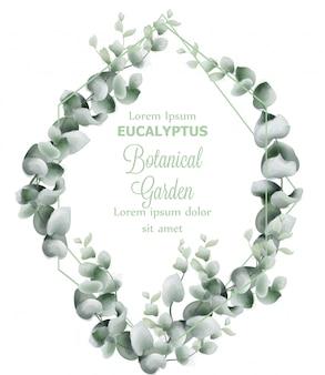 Aquarelle de carte de couronne de feuilles vertes