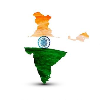Aquarelle carte de drapeau indien