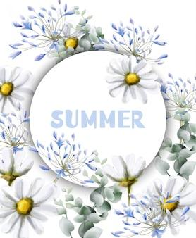 Aquarelle de carte d'été camomille