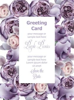Aquarelle de carte de fleurs de pivoine pourpre