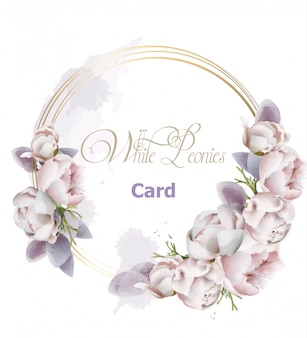 Aquarelle de carte de fleurs de pivoine
