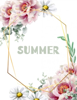 Aquarelle de carte de fleurs de printemps