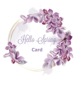 Aquarelle de carte guirlande fleurs lilas mauve