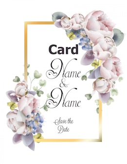 Aquarelle de carte de mariage de fleurs de pivoines