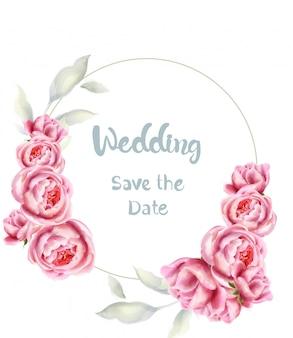 Aquarelle carte de mariage fleurs roses