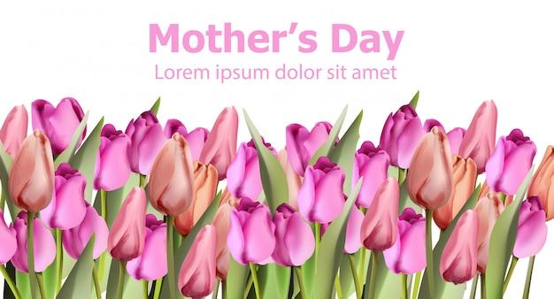 Aquarelle de carte de tulipes