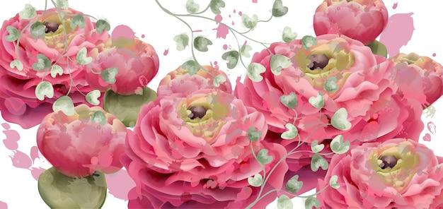 Aquarelle de carte de voeux de fleurs de printemps