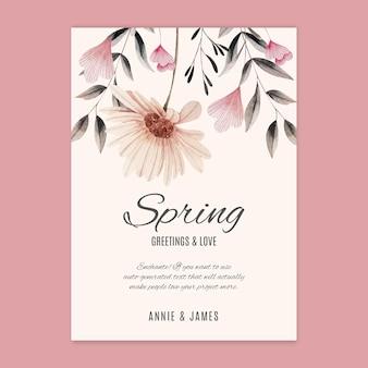 Aquarelle de carte de voeux de printemps