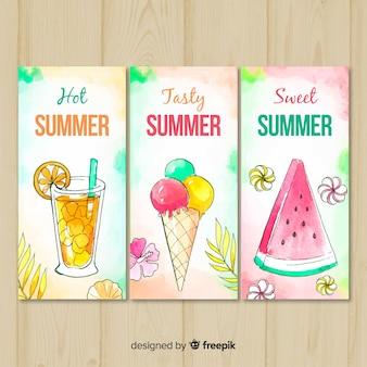 Aquarelle cartes d'été