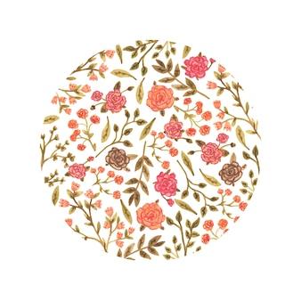 Aquarelle cercle floral dans un style romantique.