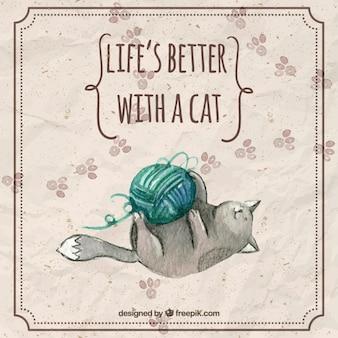 Aquarelle chat jouant une pelote de laine avec une phrase