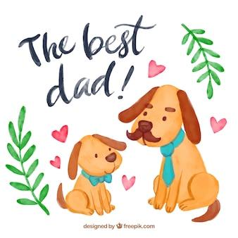 Aquarelle avec des chiens mignons pour le jour du père