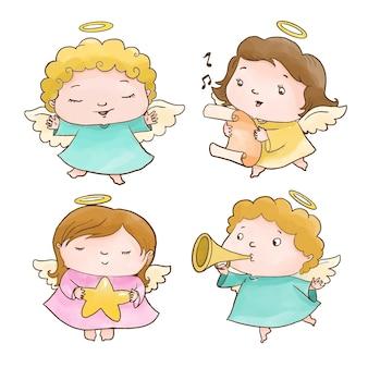 Aquarelle collection d'anges de noël