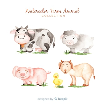 Aquarelle collection d'animaux de la ferme