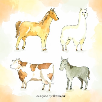 Aquarelle collection d'animaux de ferme