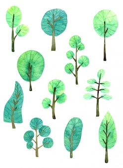 Aquarelle de collection d'arbres dessinés à la main