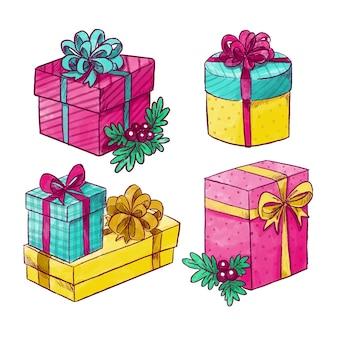 Aquarelle collection de cadeaux de noël