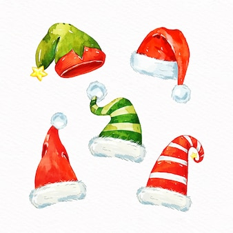 Aquarelle collection de chapeaux de père noël