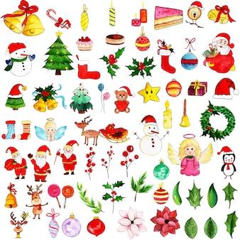 Aquarelle Collection Élément De Noël