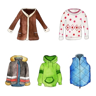 Aquarelle collection élément noël et hiver