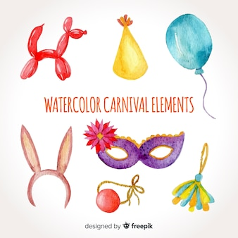 Aquarelle collection d'éléments de carnaval