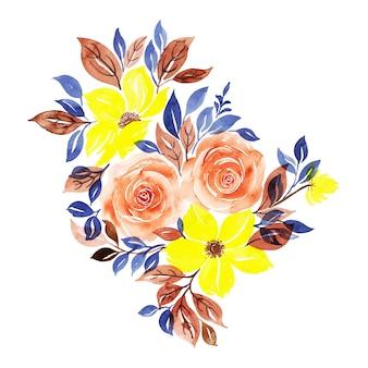 Aquarelle collection d'éléments floraux