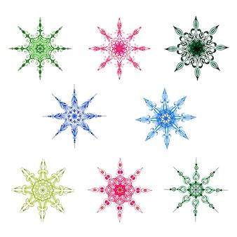 Aquarelle collection de flocons de neige de noël